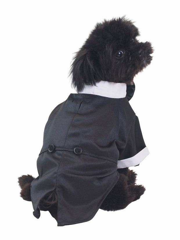 Formal dog tuxedo shirt with bow tie for weddings and parties