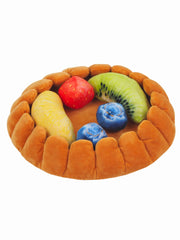 Funny fruit tart dog bed with plush fruit toys