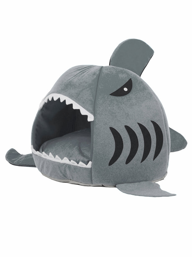 Affordable cave dog bed in the shape of a shark