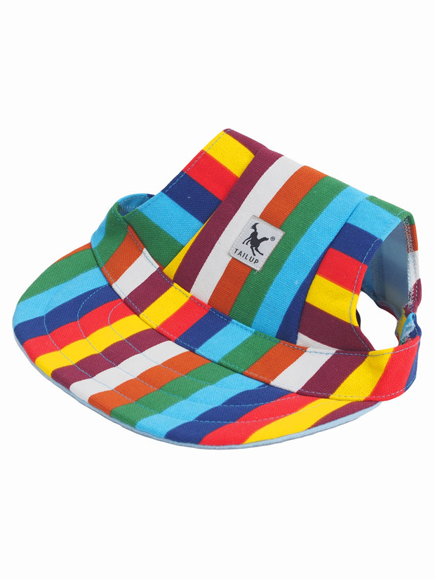 Cool rainbow pattern dog hat for summer