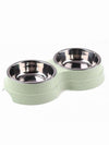green double dog bowl set