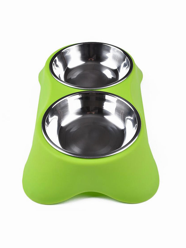 green elevated double dog bowl