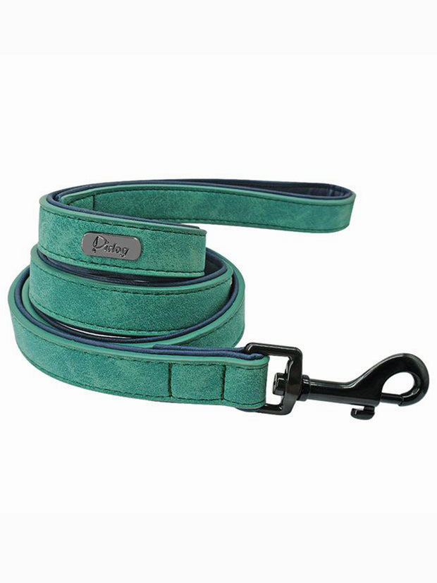 green genuine leather dog lead