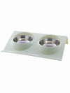 green modern double dog bowl