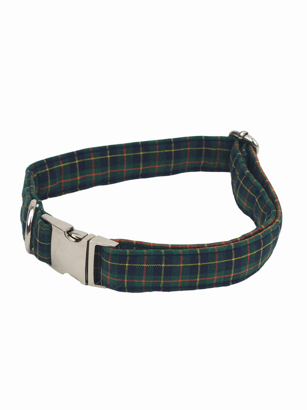 High quality green plaid dog collar