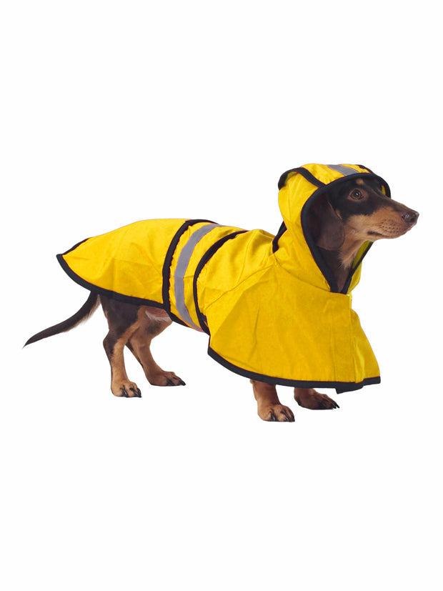 Safe reflective raincoat and rainjacket for dogs in yellow