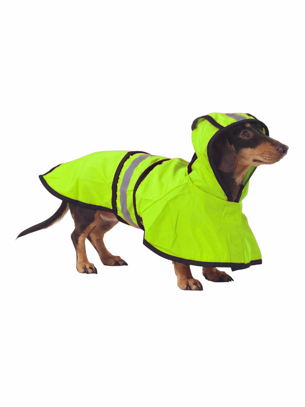 Hi-vis reflective dog raincoat with hood