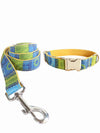 luxury folk yellow dog collar and lead set