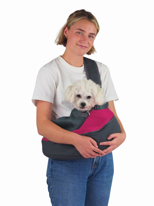 Mesh sling commuter dog puppy carry bag