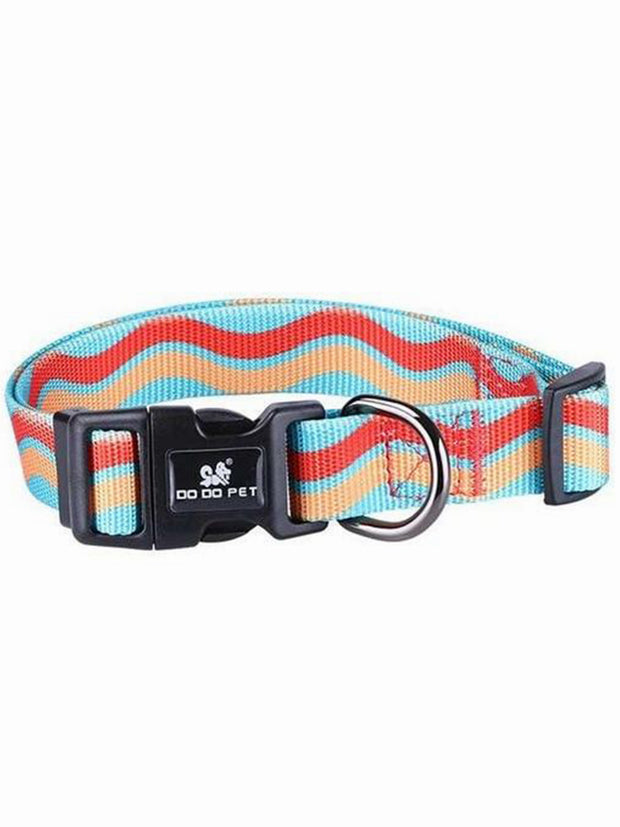 Ocean lines nylon dog collar