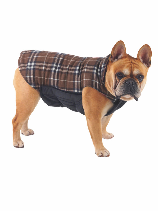 High quality reversible dog coat and jacket in brown plaid