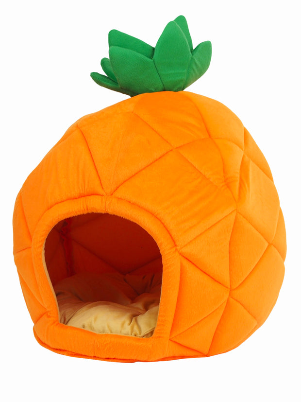 Cute cave dog bed in the shape of a orange pineapple