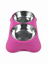 pink dog bowl set stainless steel