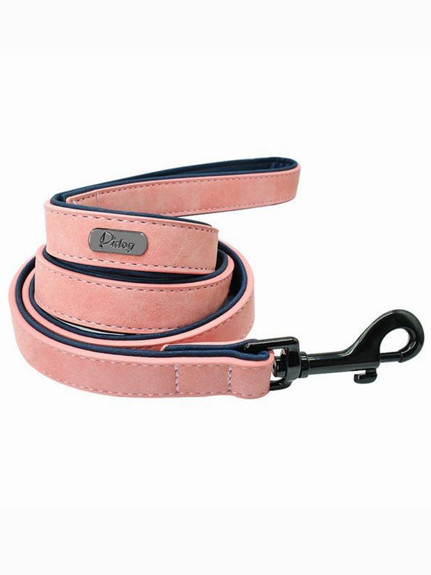 pink online leather dog lead