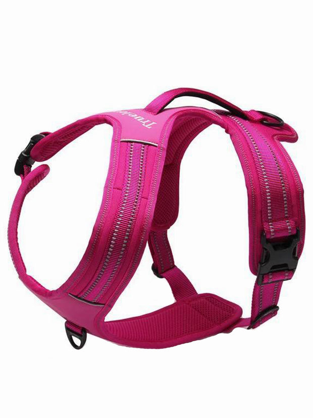 pink reflective dog harness