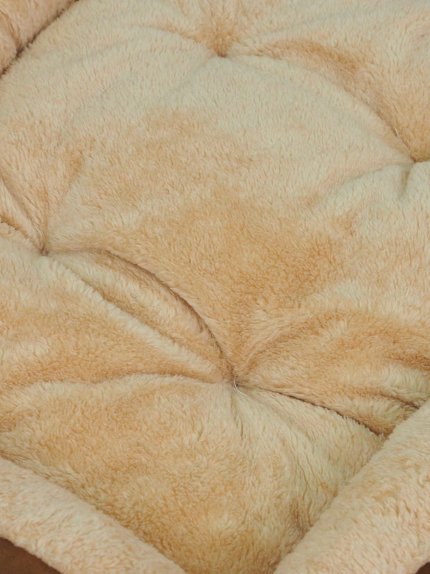Affordable plush dog bed in brown