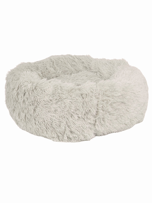 Very soft, long pile, donut shaped dog bed in white