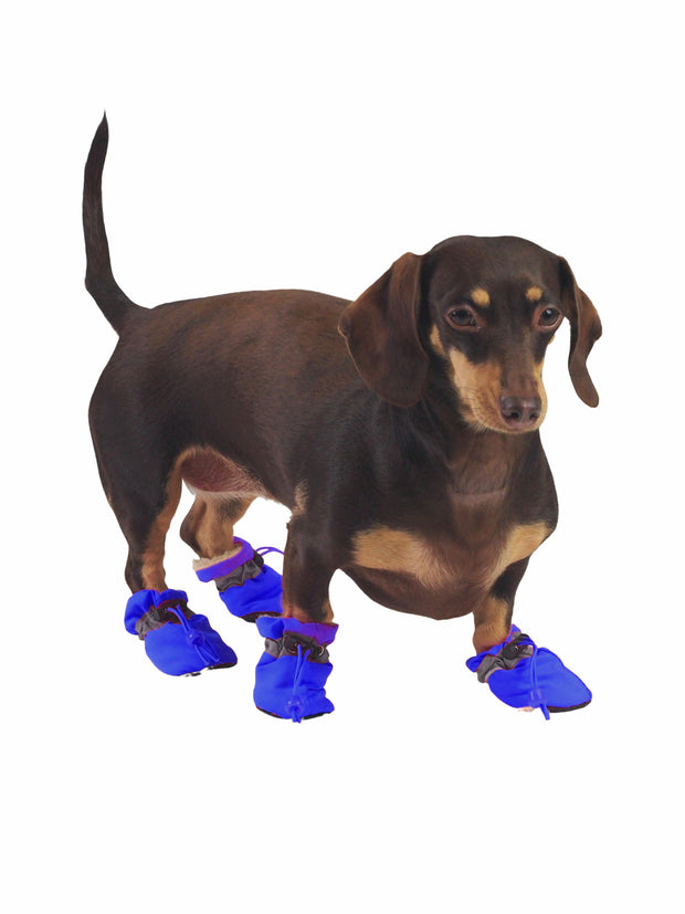 Adjustable Plush booties for dogs in blue