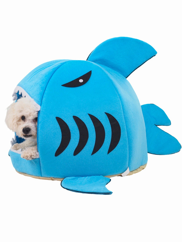 Shark chomp bed for dogs in bright blue