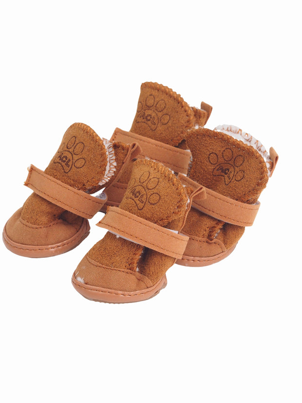 Plush adjustable Dog Ugg boots in brown