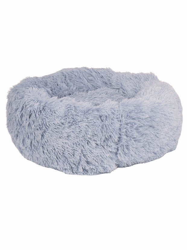 Large pile faux fur dog bed in grey
