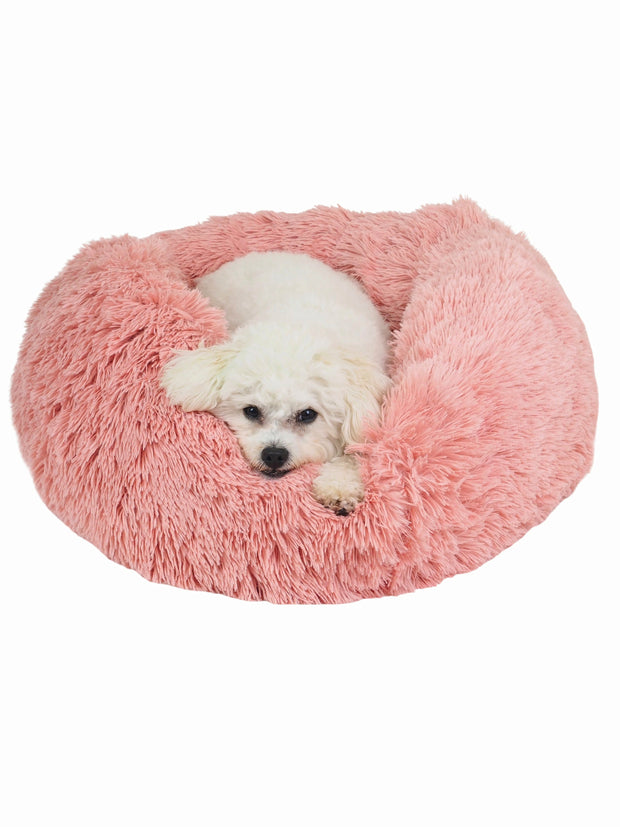 Soft long pile donut dog bed in pink