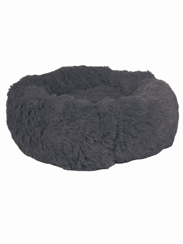 Plush, cosy dark grey long pile dog bed