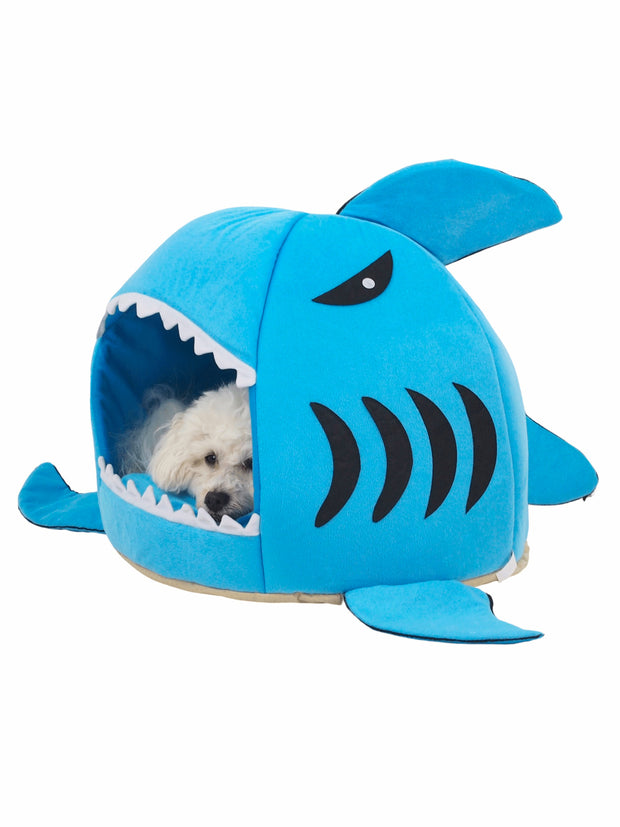 Funny shark shaped cave dog bed in blue