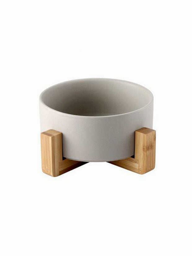 grey standing ceramic bamboo dog bowl