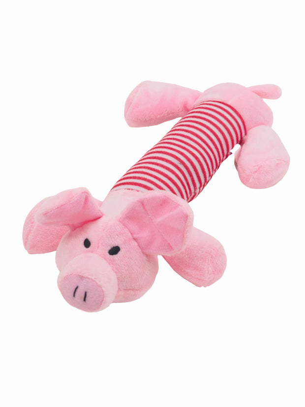 Cute piglet long plush dog toy