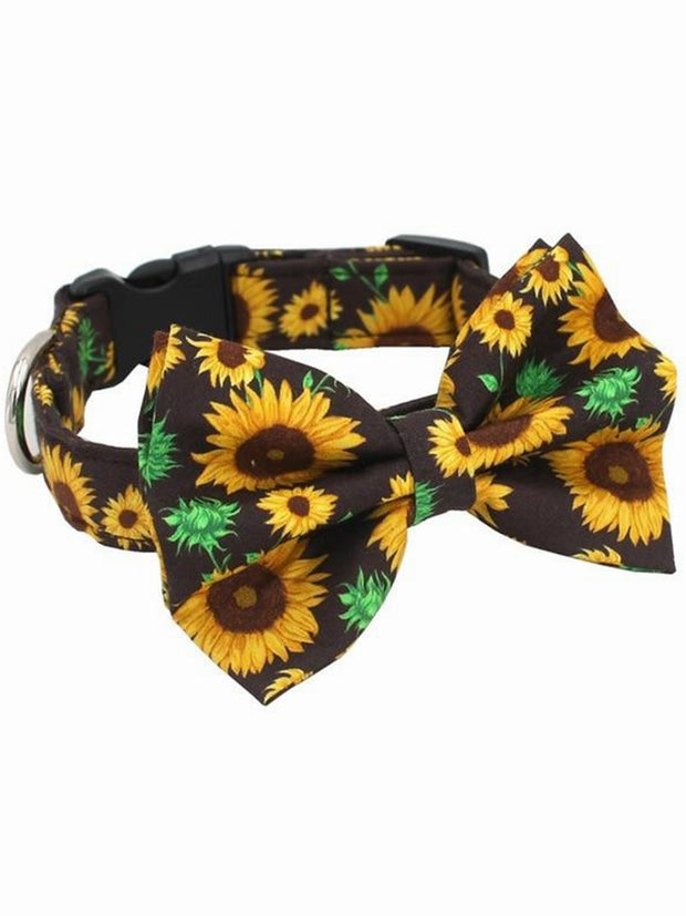 sunflower pattern dog bow tie