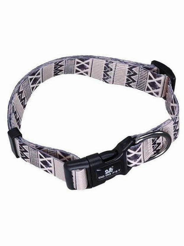 tribal grey nylon dog collar