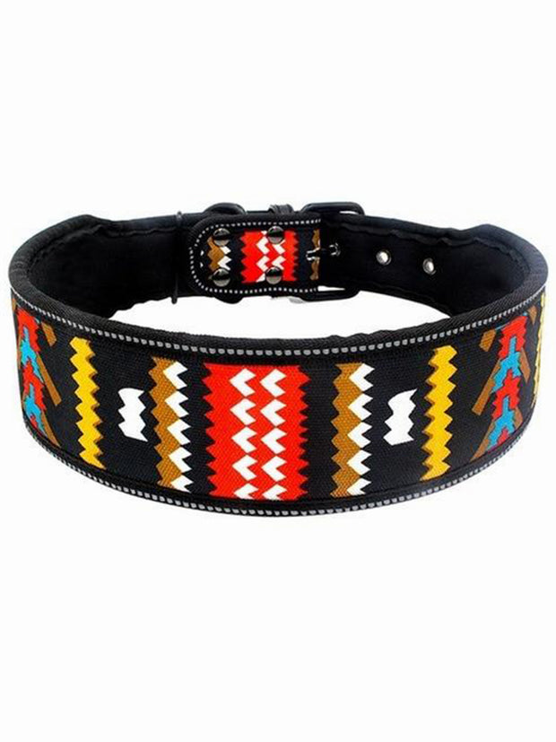 Tribal pattern wide dog collar