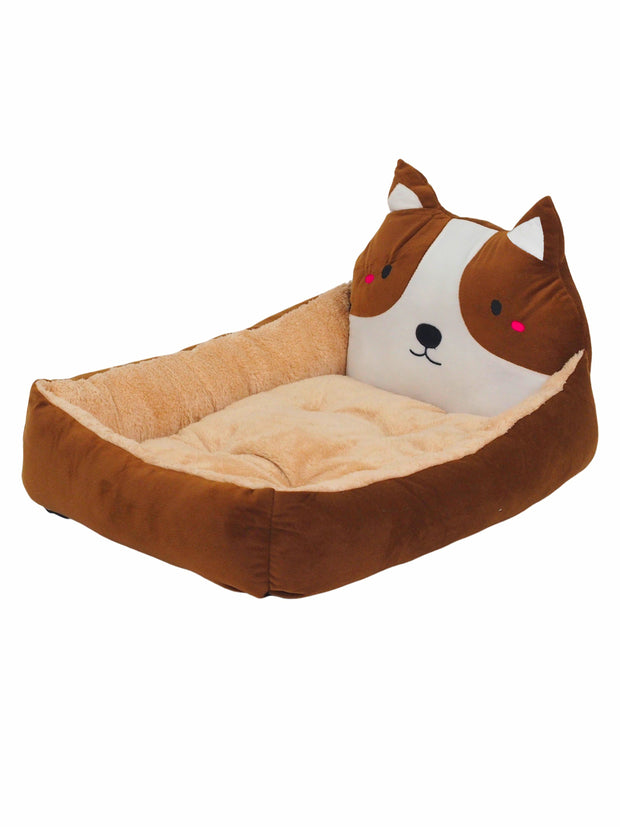 Affordable dog bed with cartoon dog face in brown