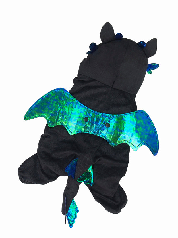 Black dragon dog costume with green wings