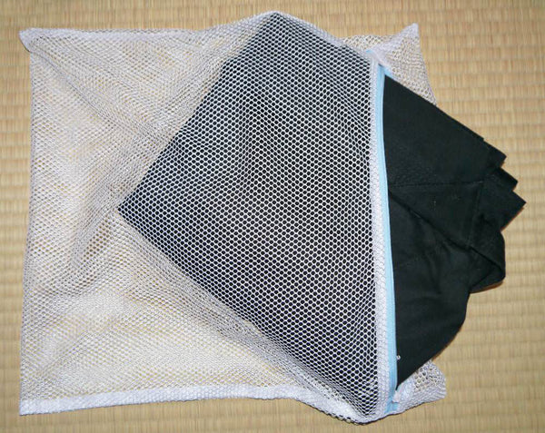 Cotton Hakama in a washing net.