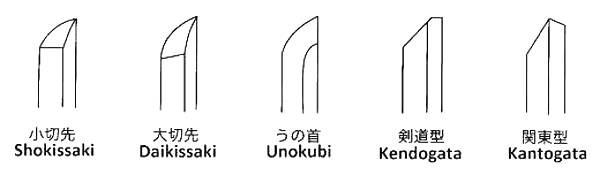 The different Kissaki finishes on Bokken