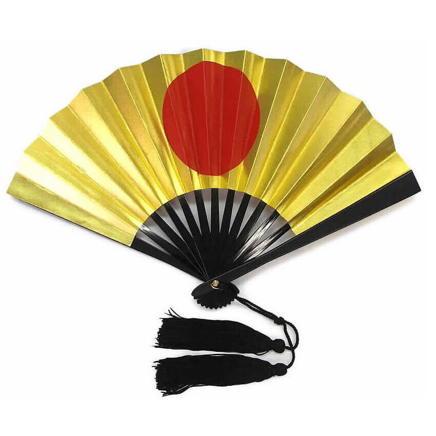 Japanese Steel War Fan Hinomaru Gold