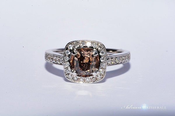VINTAGE STYLE COGNAC COLOURED DIAMOND RING