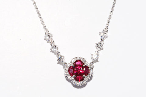 BRAND NEW 18 CARAT WHITE GOLD RUBY & DIAMOND NECKLACE