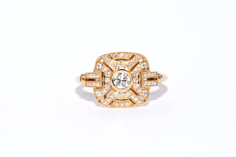 BRAND NEW 18 CARAT GOLD ART DECO  STYLE DIAMOND RING