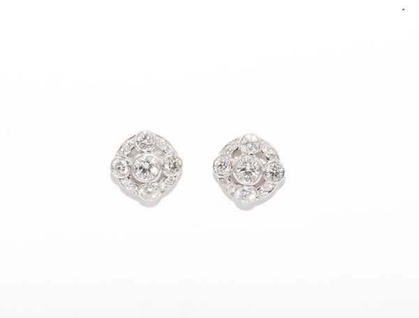 18 CARAT WHITE GOLD & DIAMOND EARRINGS