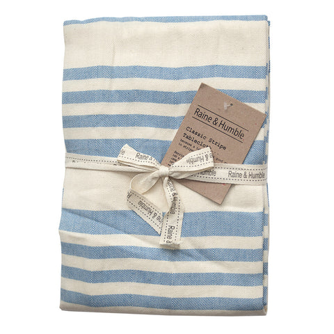Country Fields Stripe Tablecloth Blue