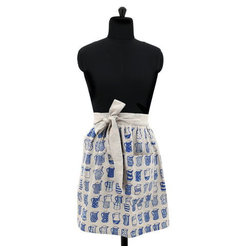 China Blue Jugs Half Apron