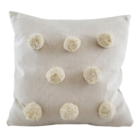 Large Pom Pom Cushion Cream