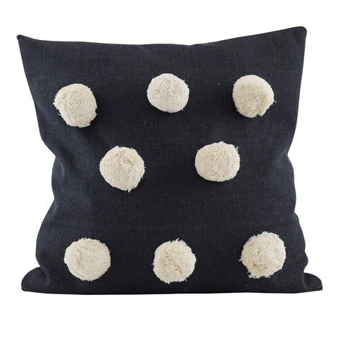 Large Pom Pom Cushion Black