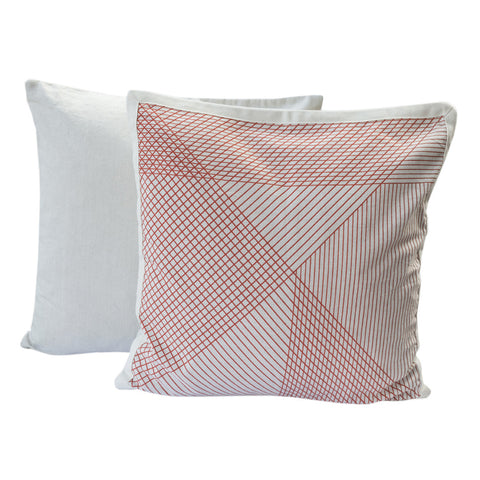 Country Fields Multi-Grid Cushion Red