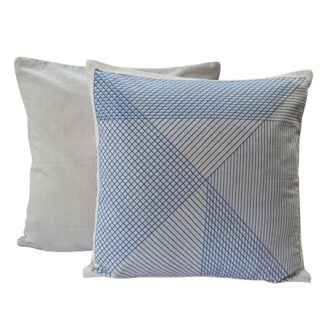 Country Fields Multi-Grid Cushion Blue