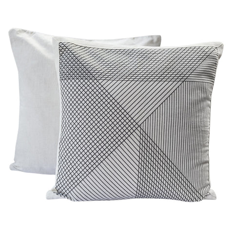Country Fields Multi-Grid Cushion Black