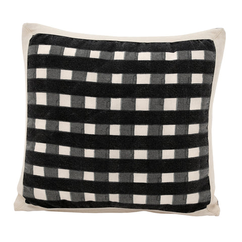 Gingham Watercolour Cushion Raven